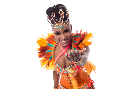 invitando: Hermosa bailarina que le invita a bailar con ella Foto de archivo