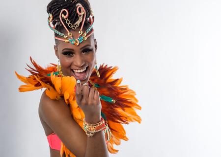 rehearse: Cheerful female samba dancer posing