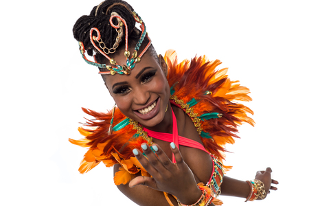 african american woman smiling: Closeup shot of a gorgeous female samba dancer