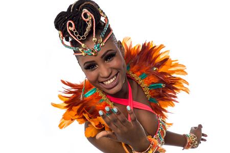 El primer tiró de un bailarín de samba mujer hermosa