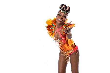inviting: Samba dancer inviting you to dance with her