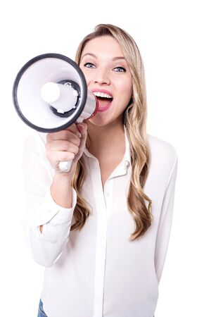 loudhailer: Confident young woman with a loudhailer Stock Photo