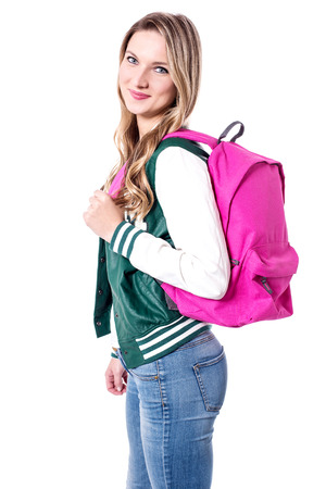 attend: University student ready to attend the lecture Stock Photo