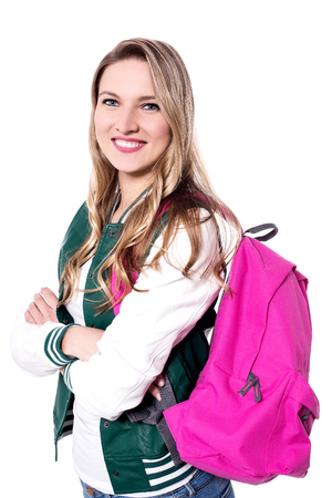 attend: Cheerful student ready to attend college Stock Photo