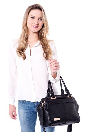 shopper: Shopper lady with a classy hand bag Stock Photo