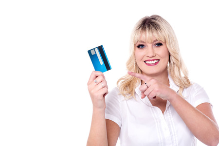 smart card: Attractive lady pointing at smart card Stock Photo