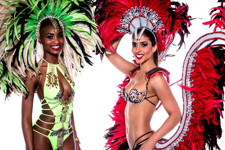 carnival costume: Smiling beautiful girls in a colorful carnival costume