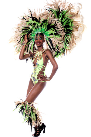 stage costume: Beautiful young samba dancer in stage costume