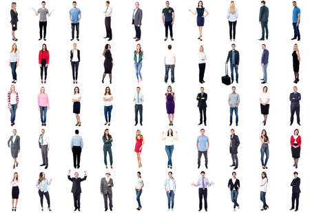 Set of trendy and business people isolated on white background photo