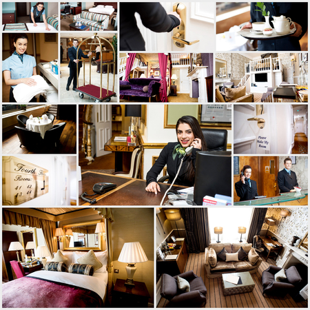 Collage of luxury living and bed room interior. Staffs at work. photo