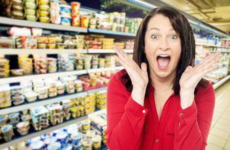 admiring: Amazed women at supermarket shopping mall store Stock Photo