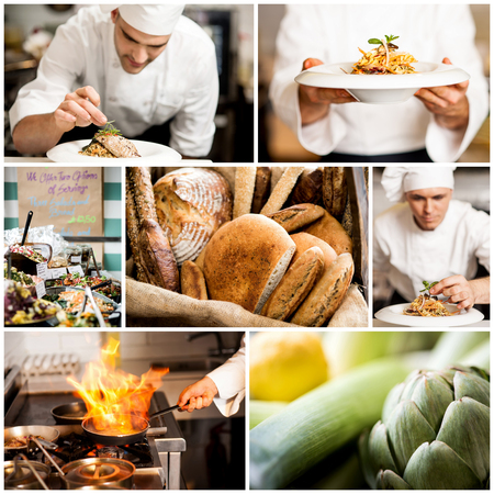 Collage on culinary theme consisting of delicious dishes