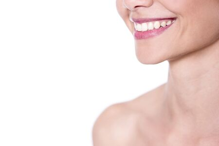 Closeup of woman smiling with prefect white teeth Stock Photo