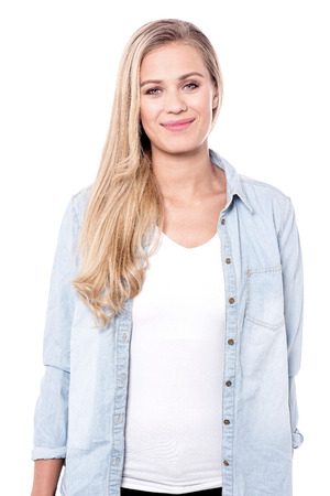 look pleased: cute young lady with blonde hair. Stock Photo