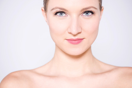 make over: Delighted woman with attractive looks