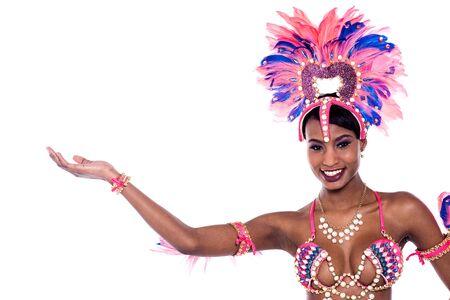 African samba dancer welcoming for carnival festival.