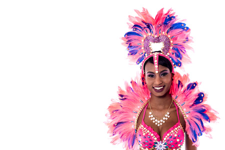 carnival costume: Portrait of young woman in pink carnival costume