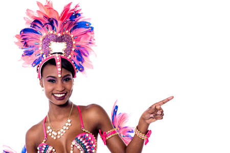 index finger: Young african dancer pointing index finger at something. Stock Photo