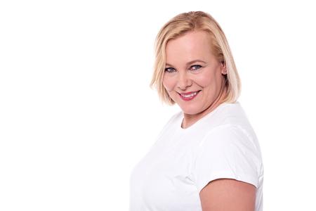 Side pose of senior woman posing to camera