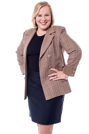 hands on waist: Senior woman posing with hands on waist