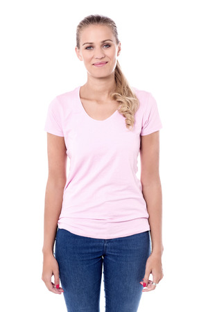 Picture of female isolated model over white background. Stock Photo
