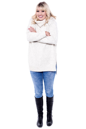 shivering: Attractive young woman shivering in the cold. Stock Photo