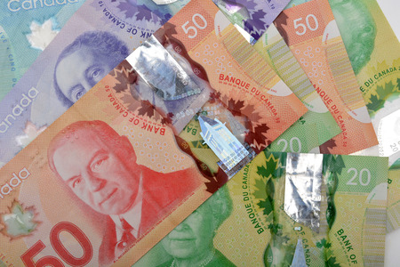 stockholder: Canadian dollars Currency bank notes background.