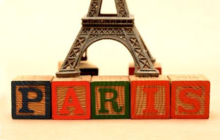 Paris Word blocks with eiffel tower in background