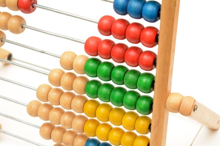 Traditional Vintage style Abacus closeup On white background