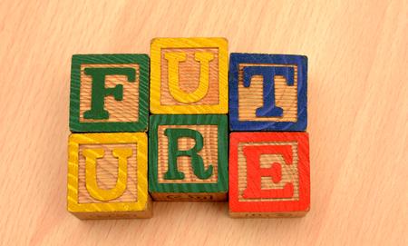 Future Words on wood blocks - Futuristic concept