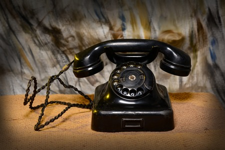 Vintage Retro Landline Phone closeup - Communication Concept Stock Photo