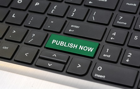 Publish Now on Keyboard online blog concept Stock Photo