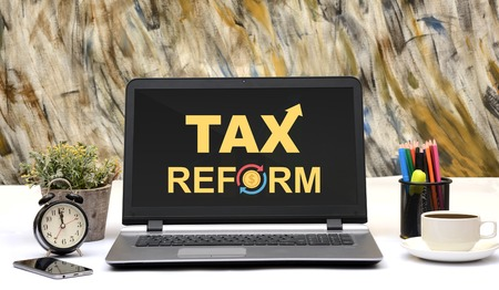 Tax Reforms Word Design office laptop Monitor Display