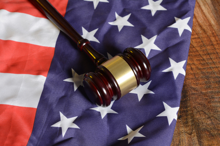 Wooden Gavel on United States of America Flag