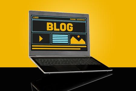 Blog Blogging Homepage Website UI Concept on Laptop