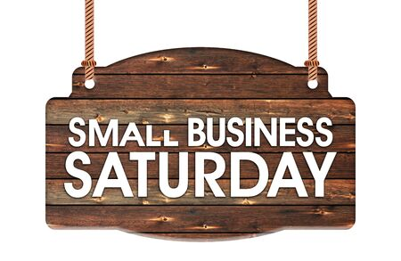 Text of Small Business Saturday in Rope wooden hanging sign Stok Fotoğraf