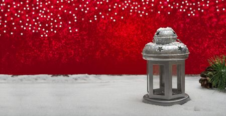 christmas banner background with lantern and ice snow copy space for your text Standard-Bild