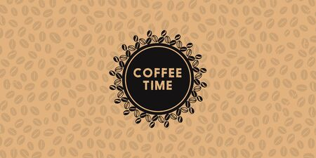 Text of coffee time and seamless pattern with beans Illustration banner