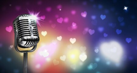 Close up vintage microphone on colorful background, music concert
