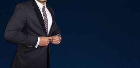 Businessman in blue coat and tie isolated on banner template 写真素材