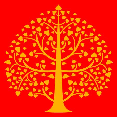 Bodhi oro con sfondo rosso Archivio Fotografico - 27954102