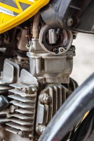 Motorcycle carburetor without air filter, Part or motorcycle.