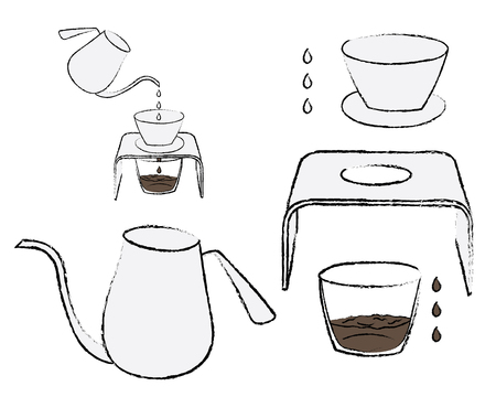 Process of coffee brewing in pour over on coffee dripper stand, doodle sketch Ilustrace