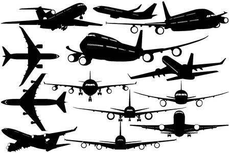 Silhouettes of passenger airliner - contours of airplanes Illustration