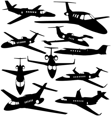plane landing: Silhouettes of private jet - contours of airplanes