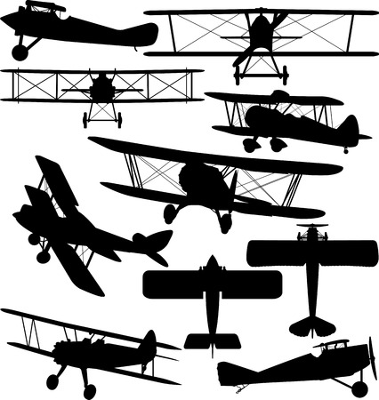 Silhouettes of old aeroplane - contours of biplanes 向量圖像