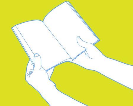 open notebook: Hands holding open notebook