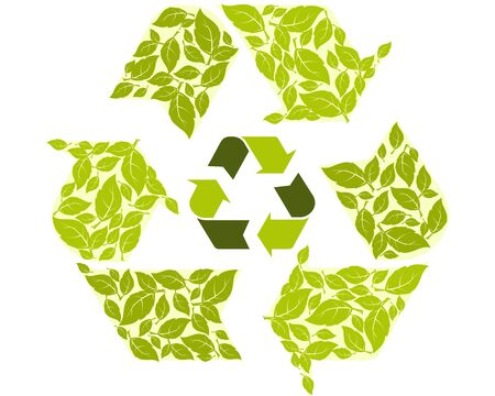 recycling symbol: Conceptual recycling symbol with green leaves