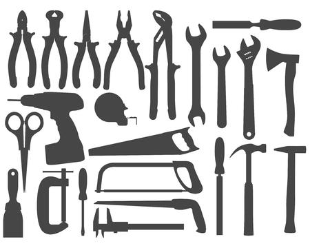 Hand work tools silhouette set