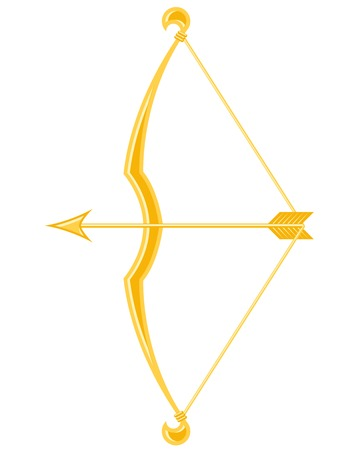 bowstring: Gold bow and arrow Illustration